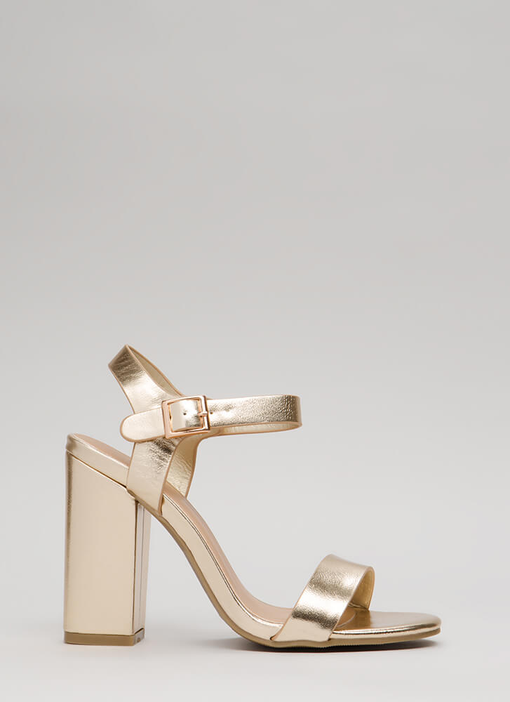 Top Influencer Metallic Chunky Heels GOLD