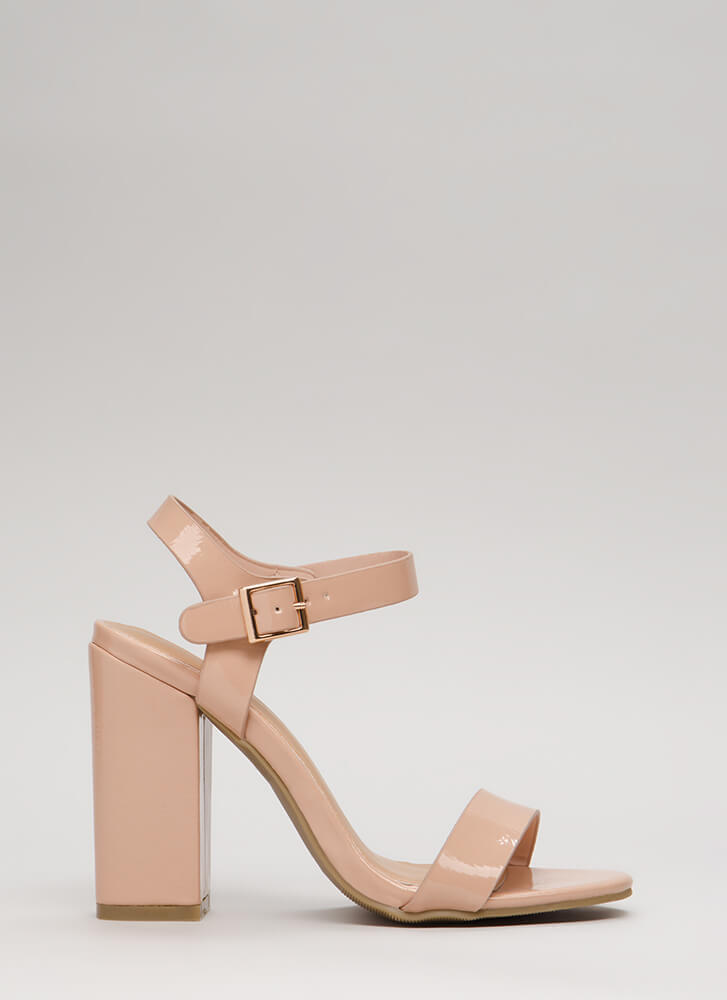 Top Influencer Faux Patent Chunky Heels NUDE