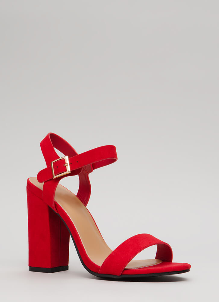 Top Influencer Faux Suede Chunky Heels RED