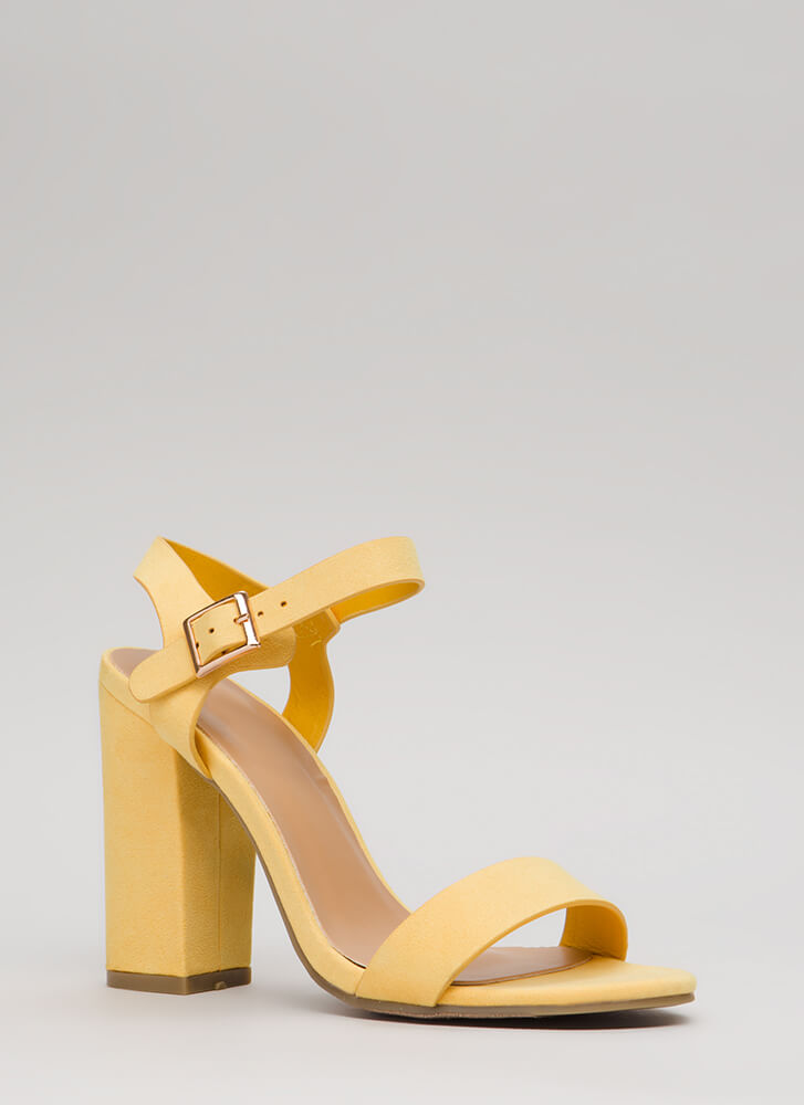 Top Influencer Faux Suede Chunky Heels YELLOW