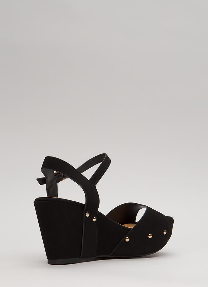 Highlight Faux Nubuck Platform Wedges BLACK