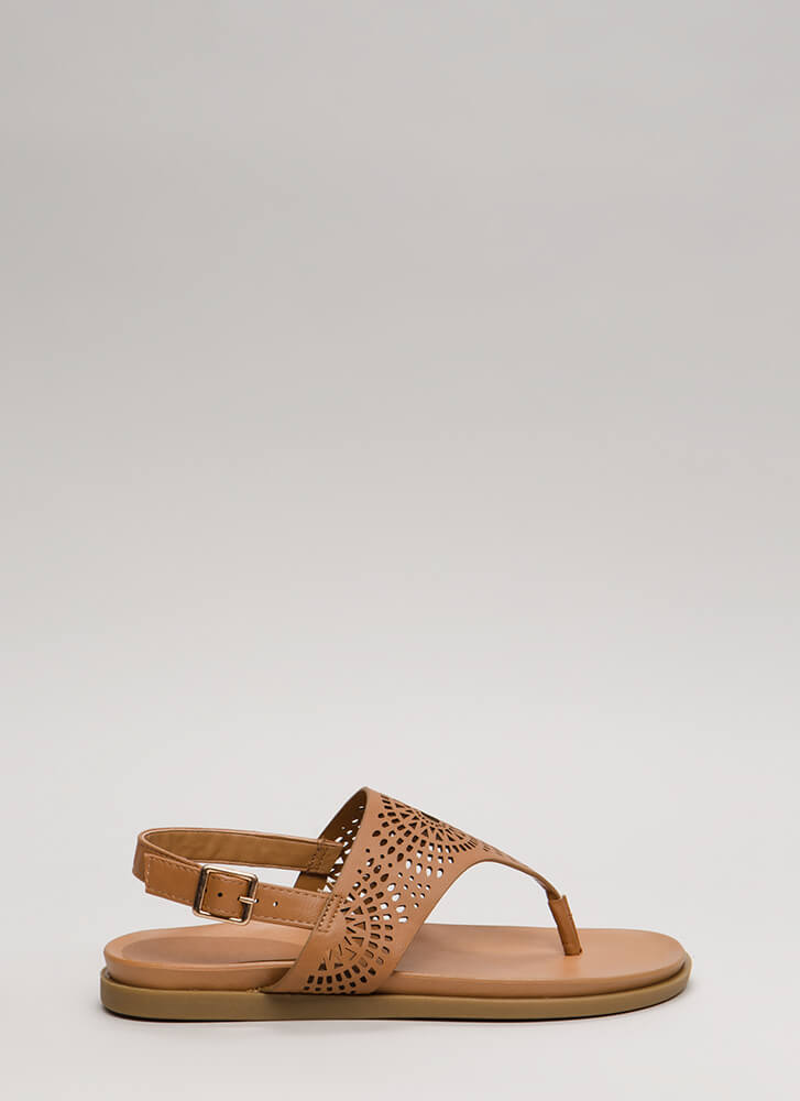 New Mission Laser-Cut Thong Sandals TAN