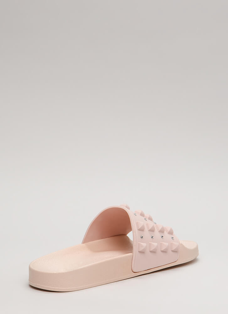 Real Stud Jeweled Jelly Slide Sandals BLUSH