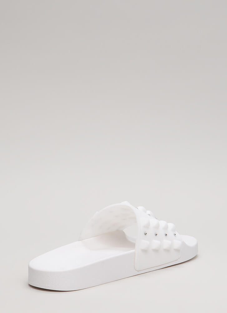 Real Stud Jeweled Jelly Slide Sandals WHITE