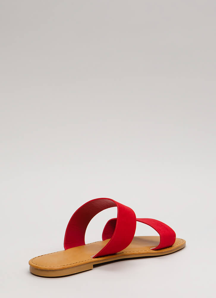 Easy Come Easy Go Faux Suede Sandals RED