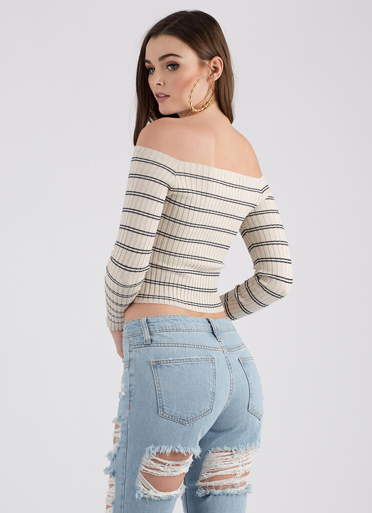 All Mine Striped Off-Shoulder Top OATMEAL