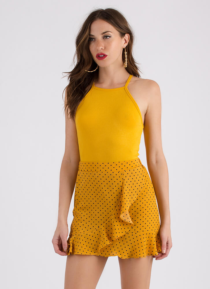 Obvious Choice Cropped Racer Tank MUSTARD