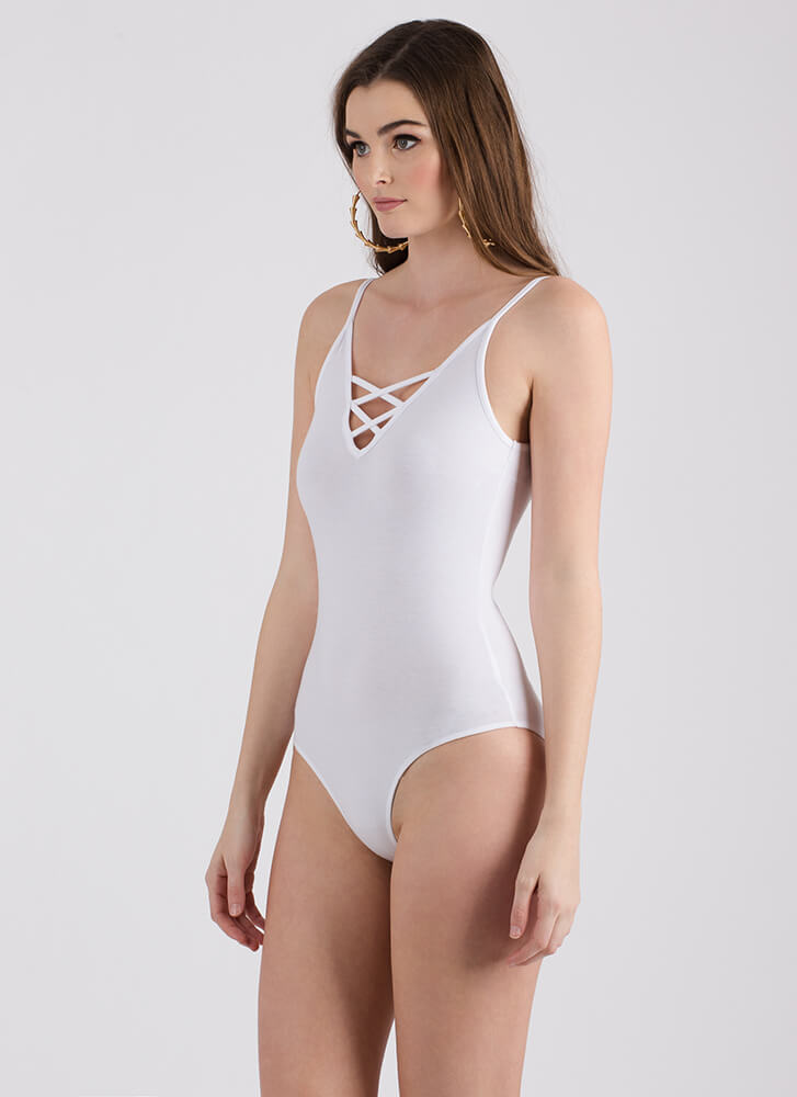 Back To My X's Cage-Front Bodysuit WHITE