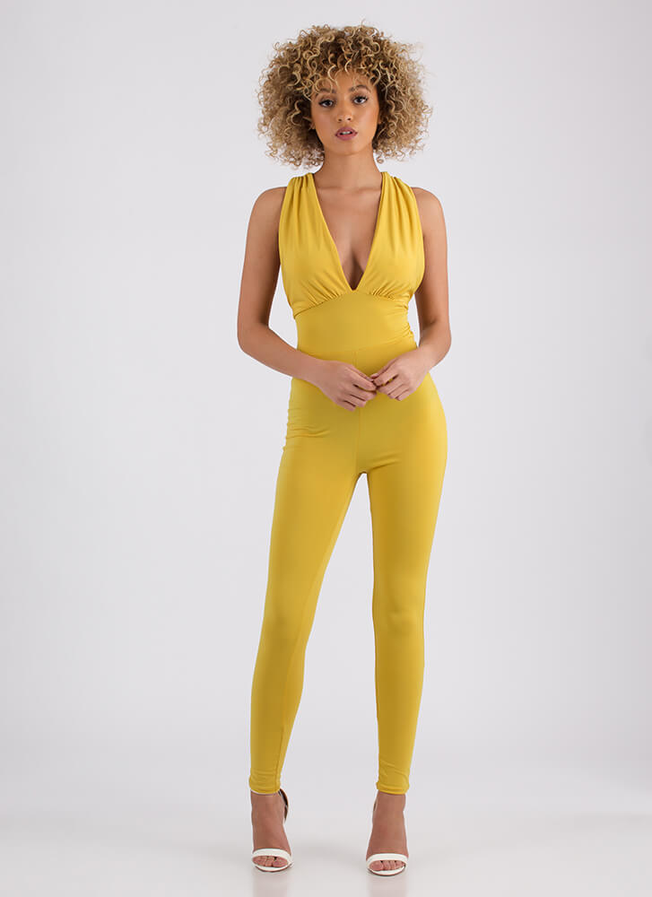 In Too Deep Plunging Draped Jumpsuit MUSTARD