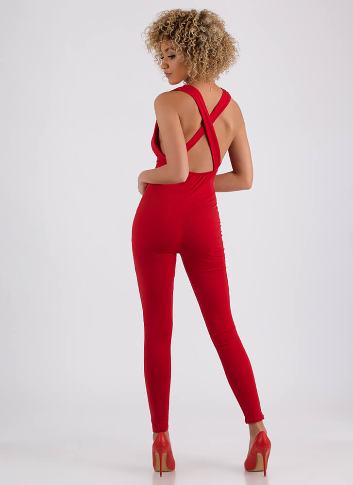 In Too Deep Plunging Draped Jumpsuit RED