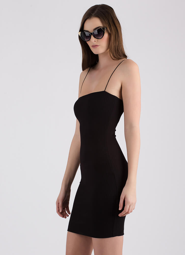 Stunning Simplicity Rib Knit Midi Dress BLACK