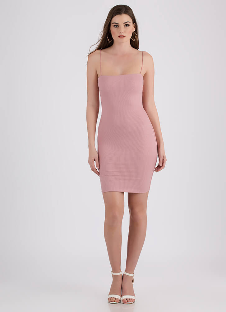 Stunning Simplicity Rib Knit Midi Dress MAUVE