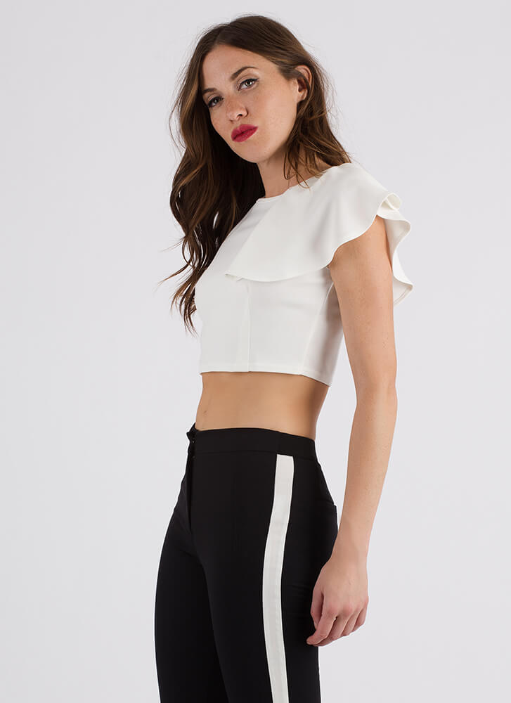 It Only Takes One Ruffled Crop Top WHITE