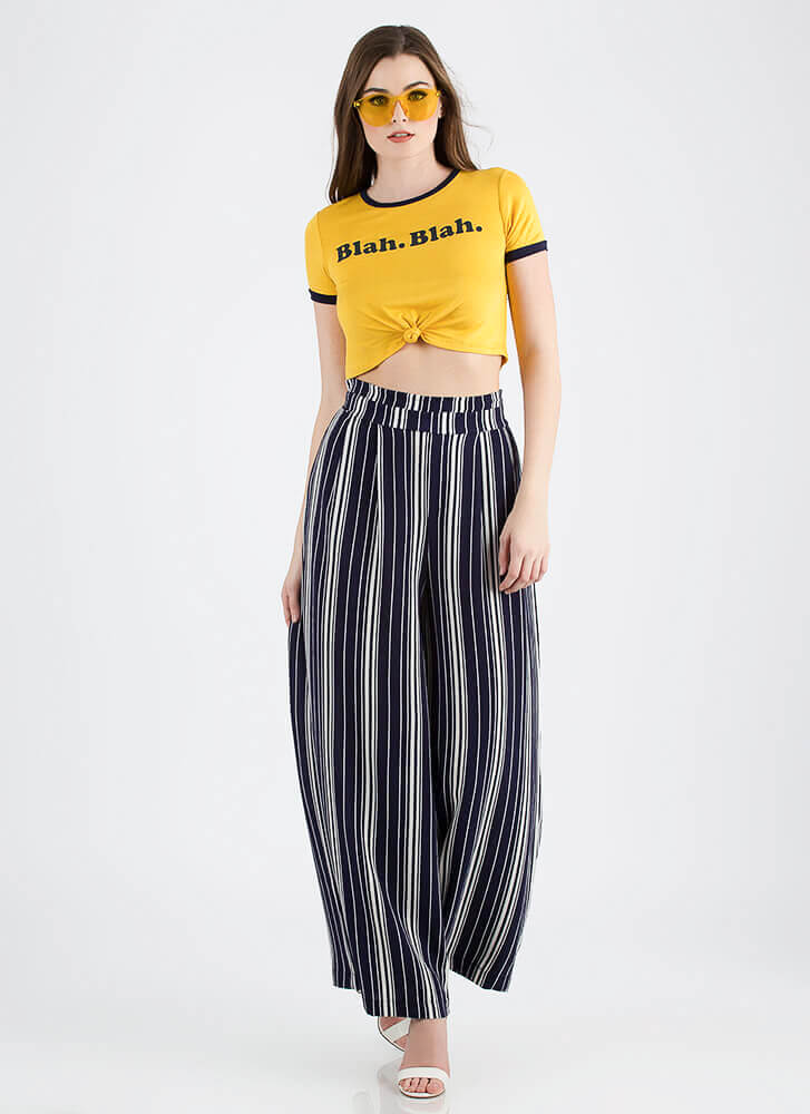 Sure Wide Not Striped Palazzo Pants NAVYWHITE