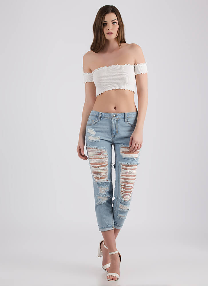 Frilled To Pieces Off-Shoulder Crop Top IVORY