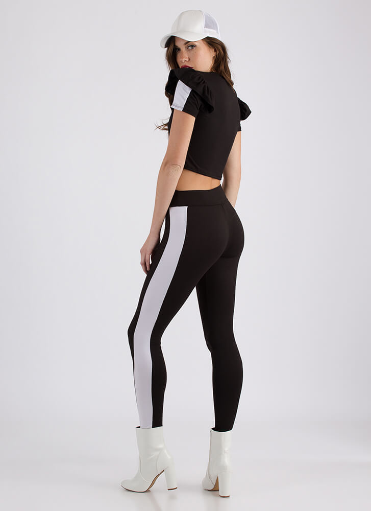 Sporty Stripe Ruffled Top And Pant Set BLACK