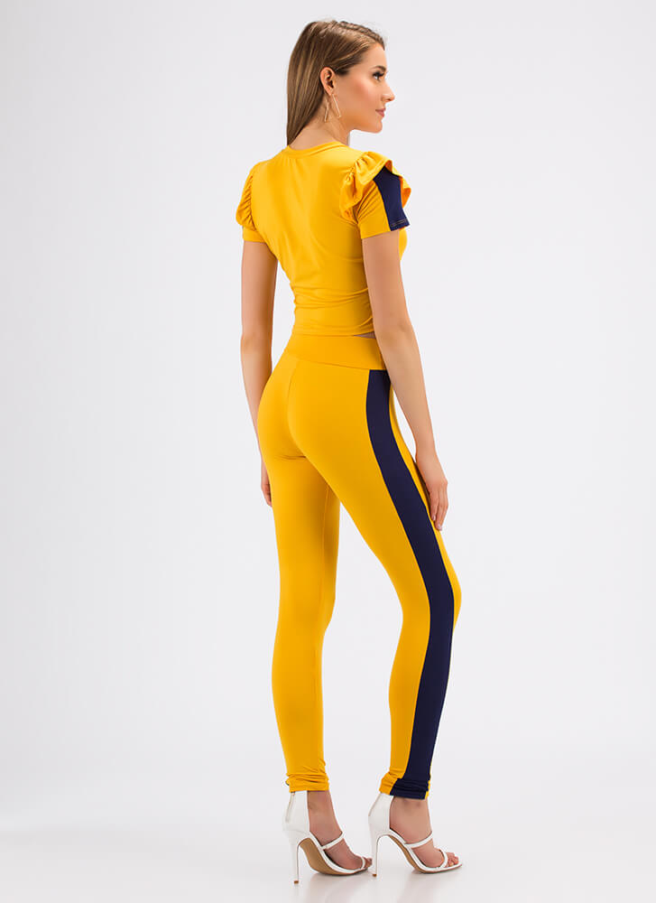 Sporty Stripe Ruffled Top And Pant Set YELLOW