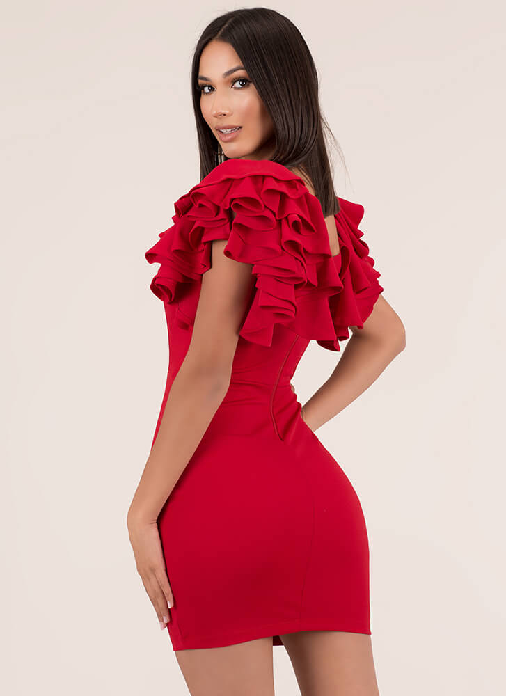 Turn Up The Volume Ruffle Sleeve Dress RED
