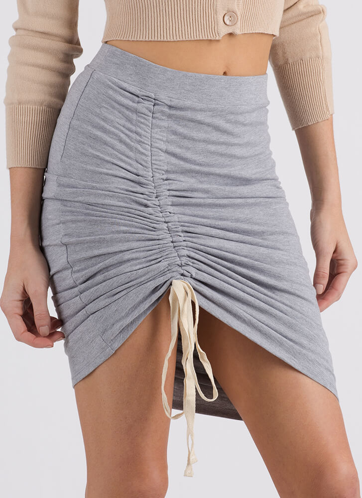 Thigh's The Limit Ruched High-Low Skirt HGREY (Final Sale)