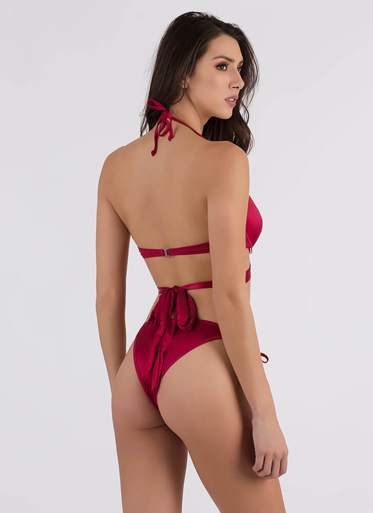Wrap Star Satin Two-Piece Bikini Set BURGUNDY