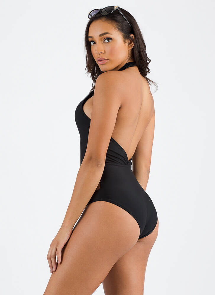 Cut Me Out Halter One-Piece Swimsuit BLACK (Final Sale)