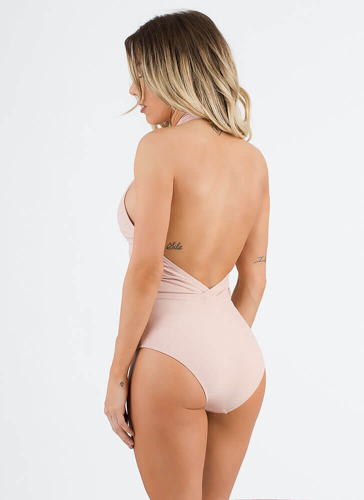 Cut Me Out Halter One-Piece Swimsuit ROSE (Final Sale)