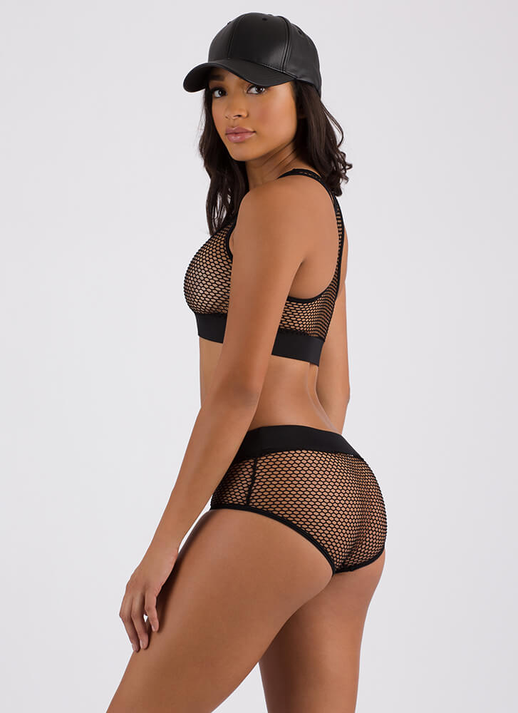 Caught In My Net Sporty Bikini Set BLACK