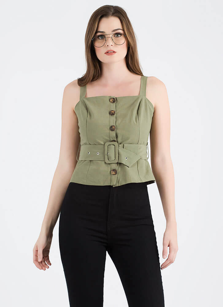 It's A Cinch Belted Button-Up Top OLIVE