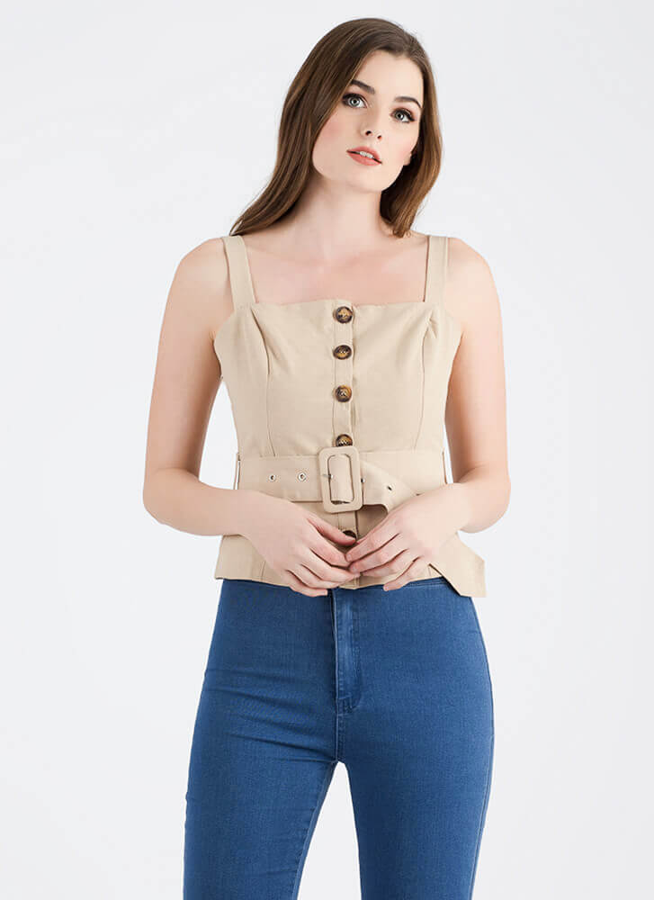 It's A Cinch Belted Button-Up Top TAUPE