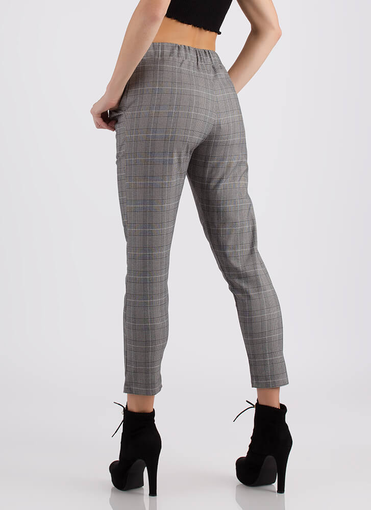 On The Grid Drawstring Plaid Pants BLACK
