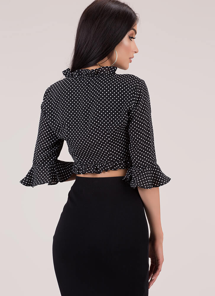 Connect The Dots Ruffled Tie-Front Top BLACK