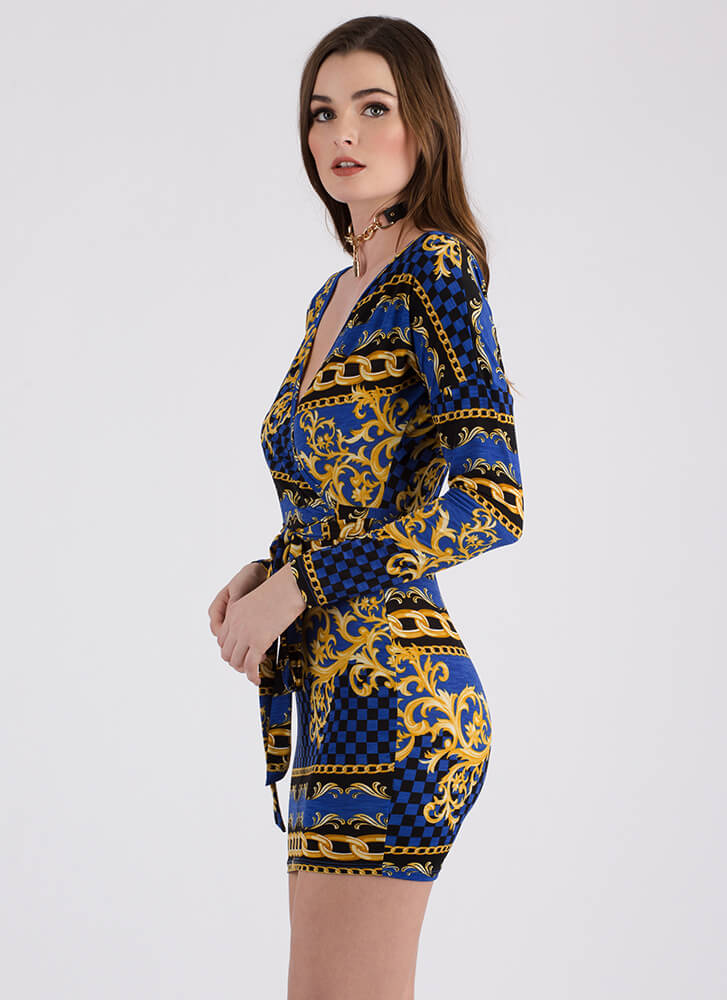 Being Baroque Tied Faux Wrap Minidress ROYAL