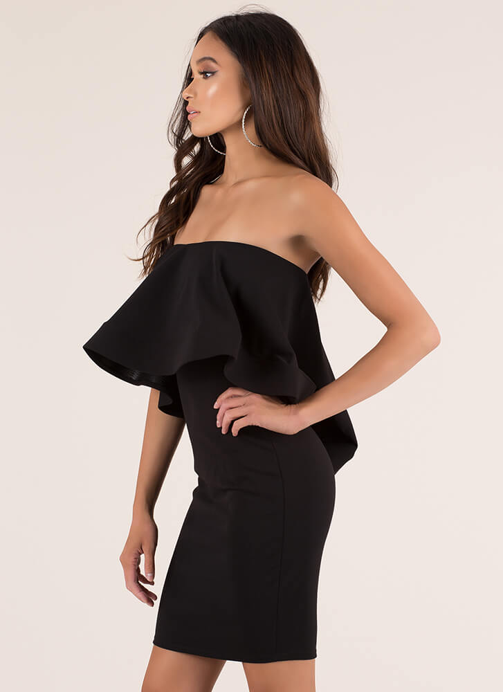 Make Waves Strapless Ruffled Dress BLACK (You Saved $23)