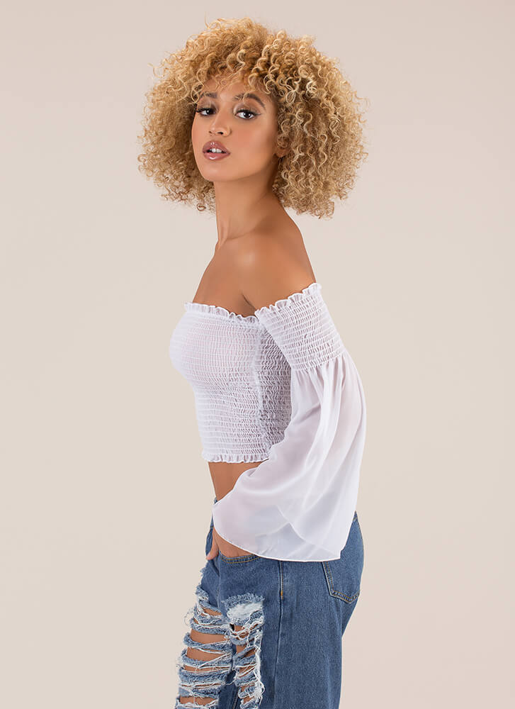 Pure Poetry Smocked Off-Shoulder Top OFFWHITE