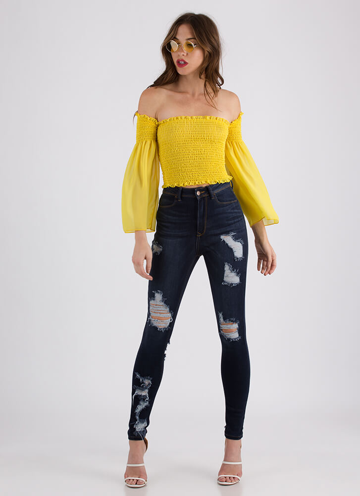 Pure Poetry Smocked Off-Shoulder Top YELLOW