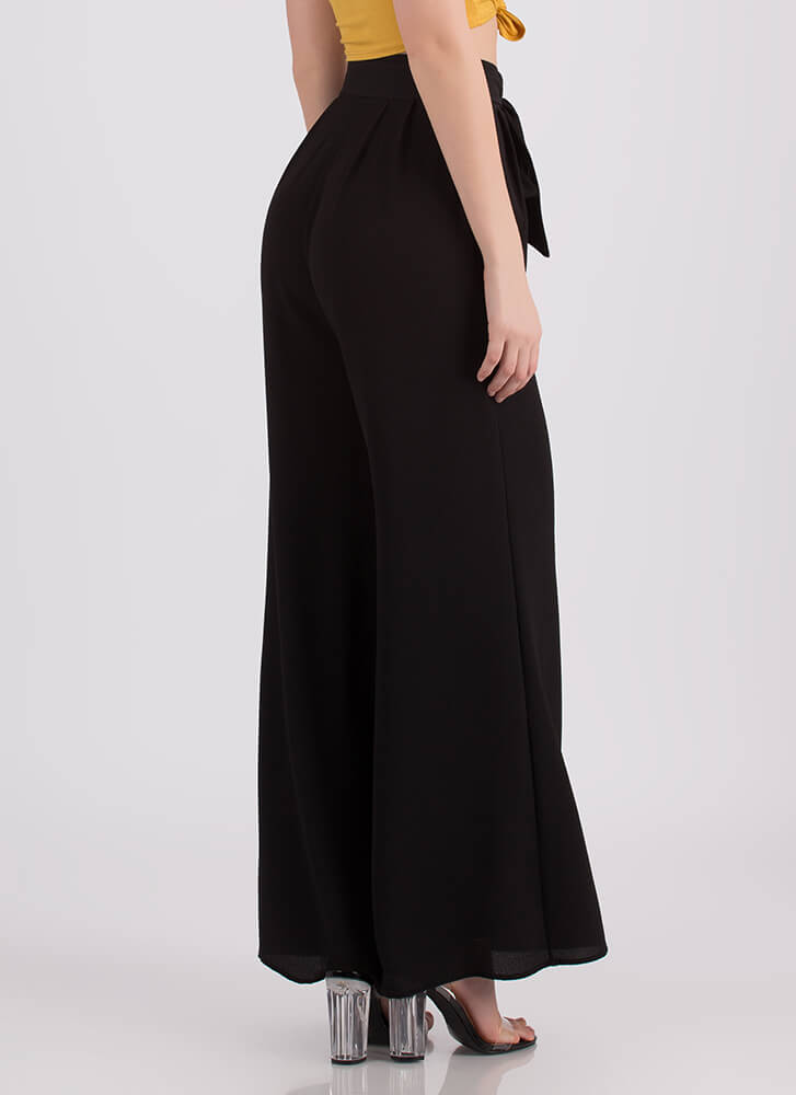 Work Flow Belted Palazzo Pants BLACK