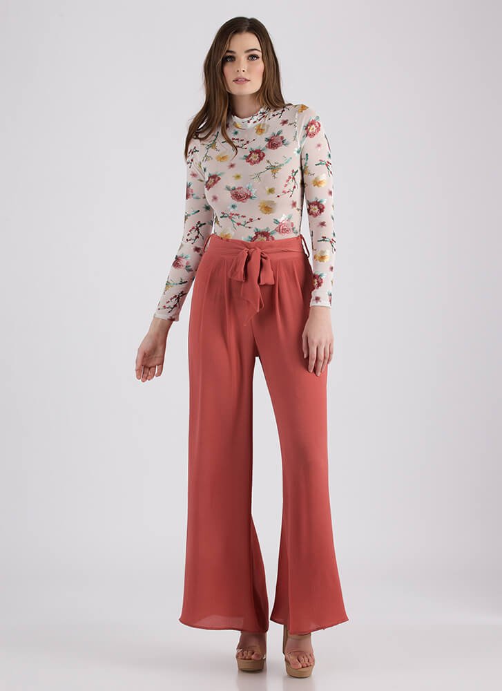Work Flow Belted Palazzo Pants SALMON