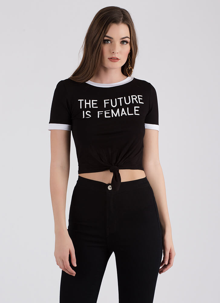 The Future Is Female Knotted Crop Top BLACK