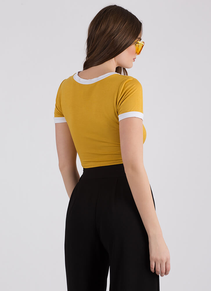 The Future Is Female Knotted Crop Top MUSTARD