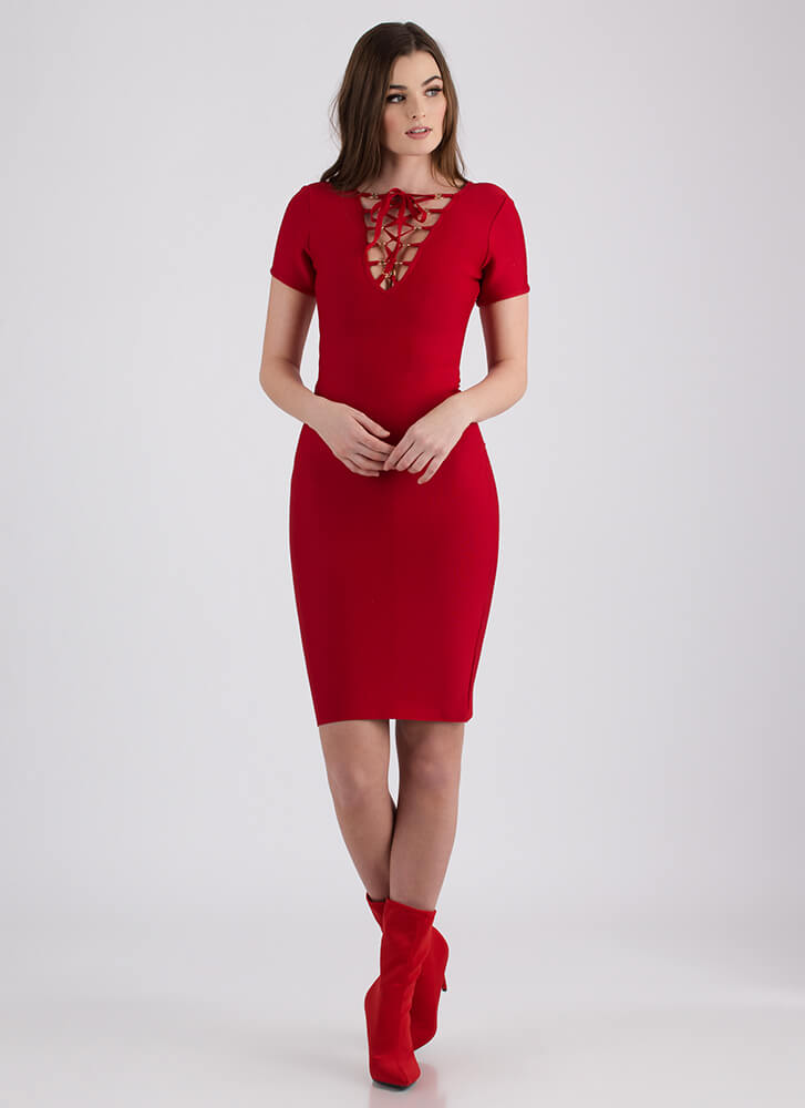 All You Lace-Front Bandage Dress RED