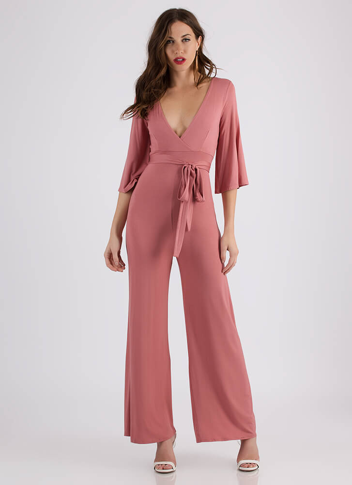Retro Flow Plunging Palazzo Jumpsuit PINK