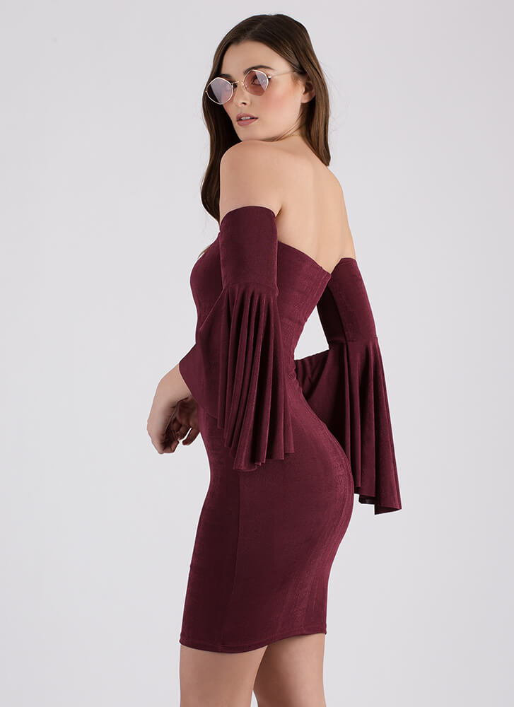 The Drama Off-Shoulder Bell Sleeve Dress BERRY