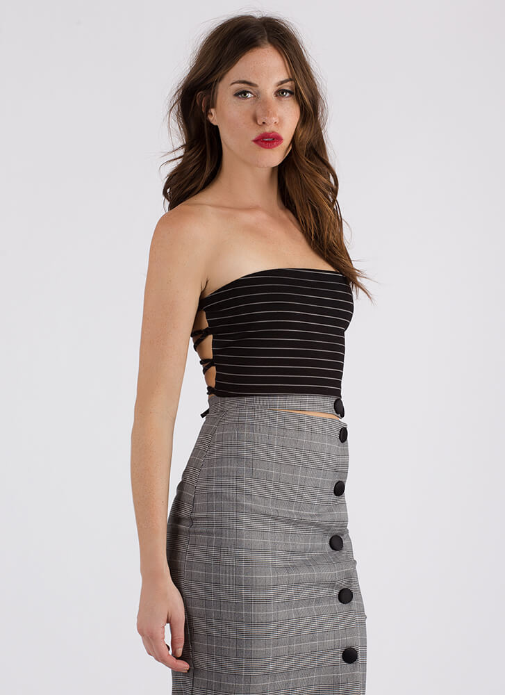 Sexy Back Cropped Pinstriped Tube Top BLACK