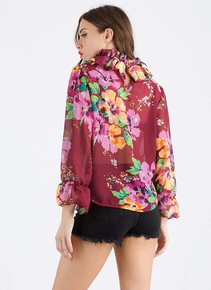 Necks Time Ruffled Floral Blouse BURGUNDY