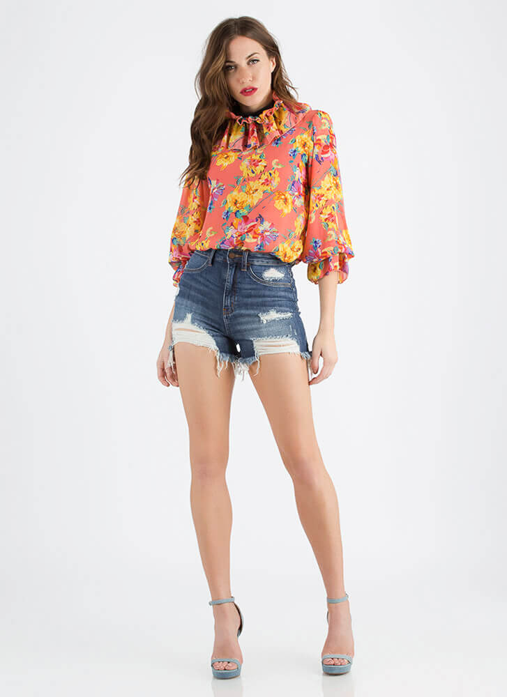 Necks Time Ruffled Floral Blouse CORAL