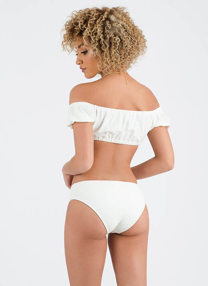 Villa Vacay Off-Shoulder Two-Piece Suit IVORY (Final Sale)