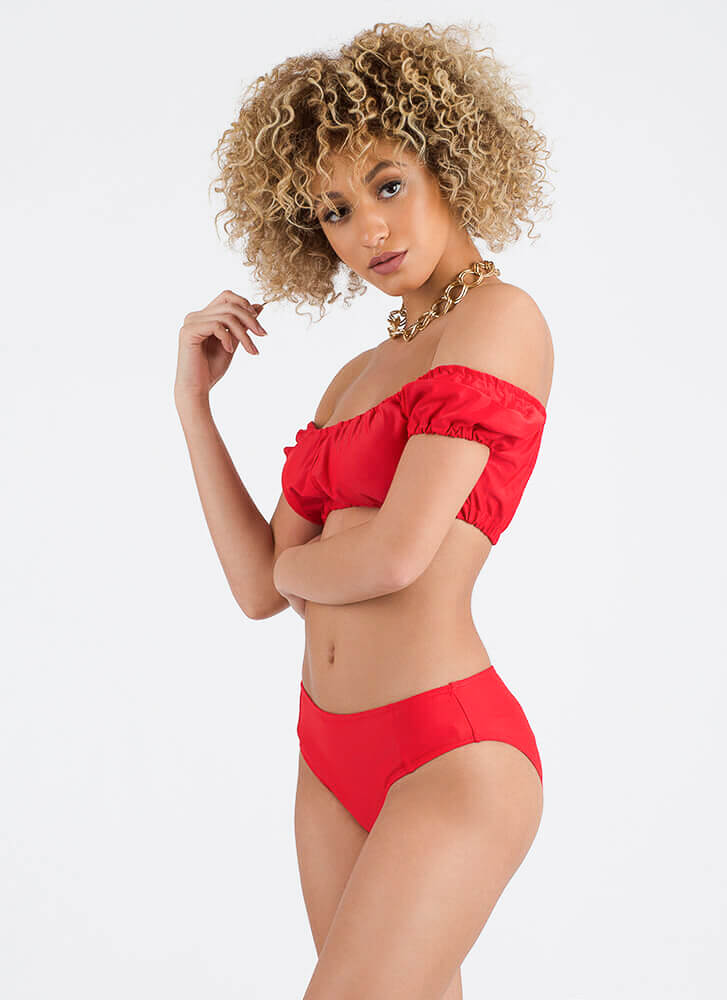 Villa Vacay Off-Shoulder Two-Piece Suit RED (Final Sale)