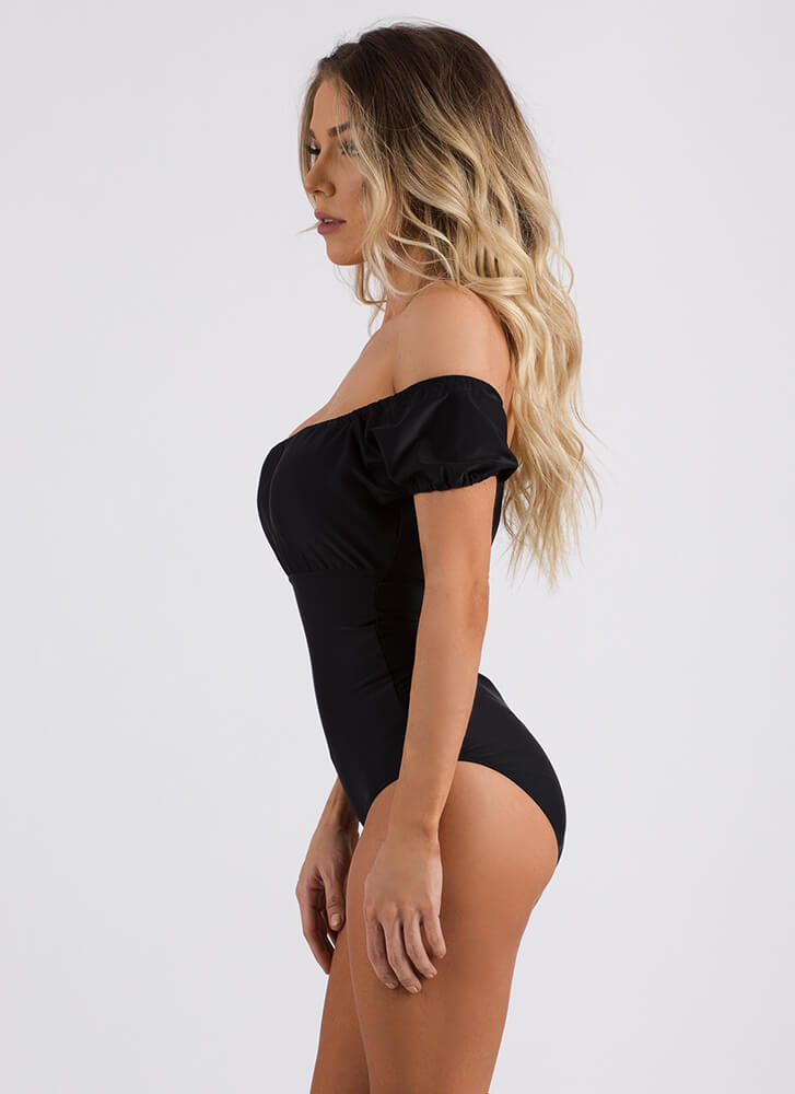 Villa Vacation Off-Shoulder Swimsuit BLACK (Final Sale)