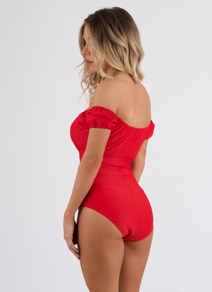 Villa Vacation Off-Shoulder Swimsuit RED (Final Sale)