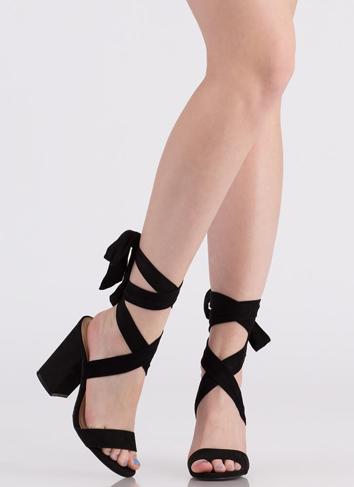 Tied You Over Chunky Lace-Up Heels BLACK